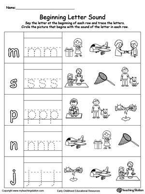 Trace and Match Beginning Letter Sound: ET Words