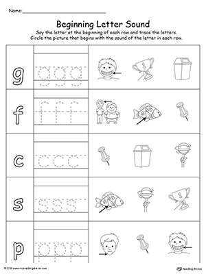 Trace and Match Beginning Letter Sound: IN Words