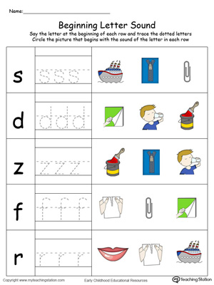 Trace and Match Beginning Letter Sound: IP Words in Color