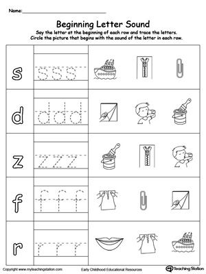 math worksheet : trace and match beginning letter sound an words  : Beginning Letter Worksheets Kindergarten