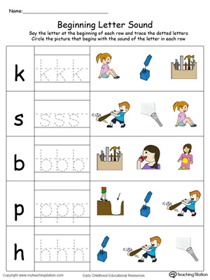 Match the beginning letter sounds and trace the words with this Trace and Match IT Word Family in Color worksheet.