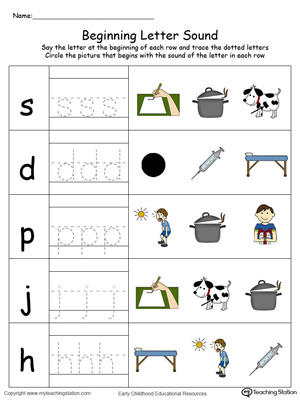 Trace and Match Beginning Letter Sound: OT Words in Color