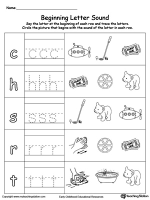 Printables Letter Sound trace and match beginning letter sound ig words ub words