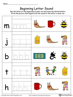 Trace and Match Beginning Letter Sound: UG Words in Color