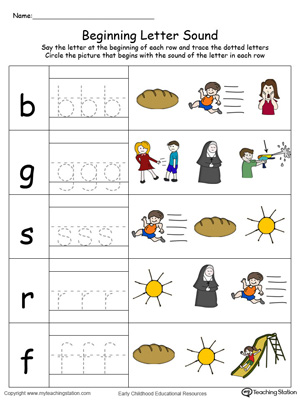 Trace and Match Beginning Letter Sound: UN Words in Color