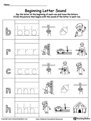 Trace and Match Beginning Letter Sound: UT Words