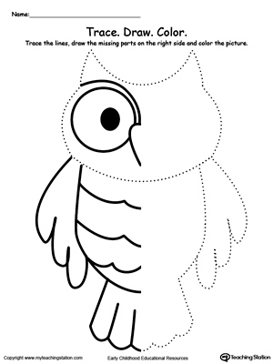 Trace The Lines Draw Missing Lines Color Picture Owl kindergarten drawing printable worksheets myteachingstation com on kindergarten printable worksheets