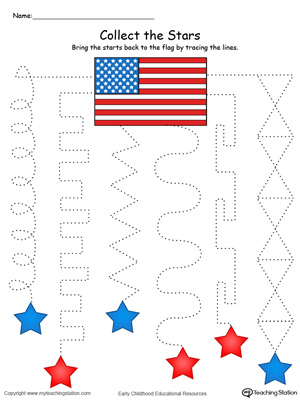 Trace the pattern to collect the stars this pre-writing patriotic printable worksheet in color.