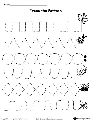 Worksheets Fine Motor Worksheets For Kindergarten early childhood pre writing worksheets myteachingstation com trace the pattern bug trail