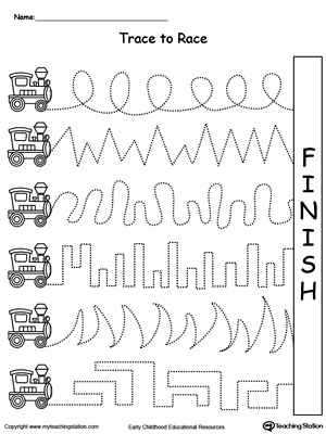 Worksheets Fine Motor Worksheets For Kindergarten early childhood pre writing worksheets myteachingstation com trace to race train track