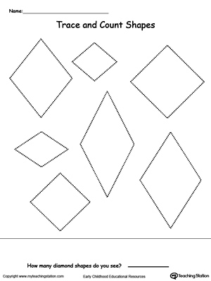trace and count diamond shapes - Activity Sheets For Preschool
