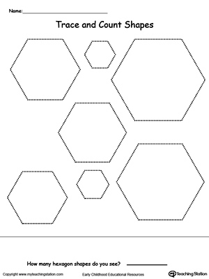 Printables Hexagon Worksheets trace and count hexagon shapes myteachingstation com shapes
