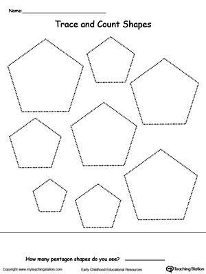 Trace and Count Pentagon Shapes | MyTeachingStation.com