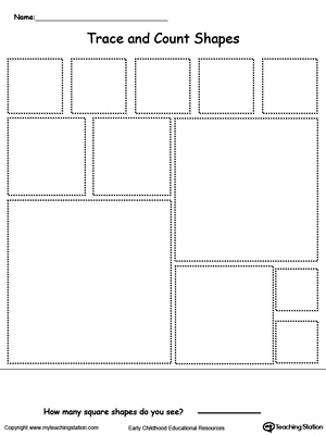 Square shapes tracing and count printable worksheet.