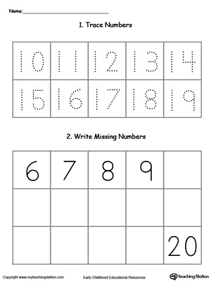 Trace And Write Missing Numbers 10 Through 20