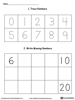 kindergarten writing numbers printable worksheets  trace and write missing numbers  through