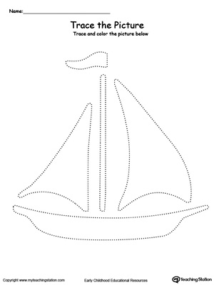 Practice fine motor skills with this boat picture tracing printable worksheet.