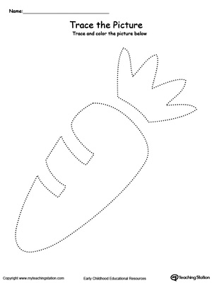 Practice fine motor skills with this carrot picture tracing printable worksheet.
