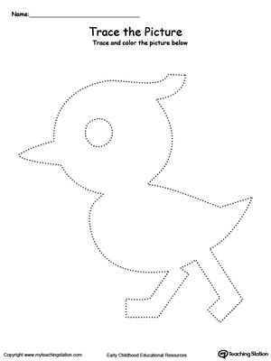 Practice fine motor skills with this duck picture tracing printable worksheet.