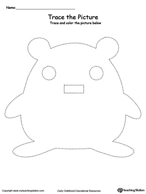 Practice fine motor skills with this hamster picture tracing printable worksheet.