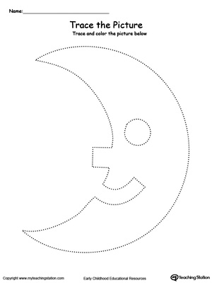 Practice fine motor skills with this moon picture tracing printable worksheet.