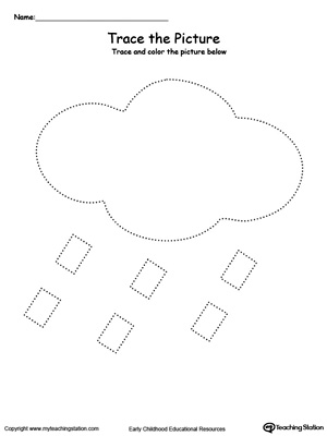 Practice fine motor skills with this rain picture tracing printable worksheet.
