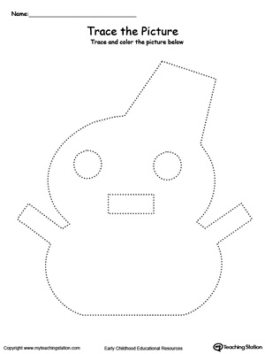Practice fine motor skills with this snowman picture tracing printable worksheet.