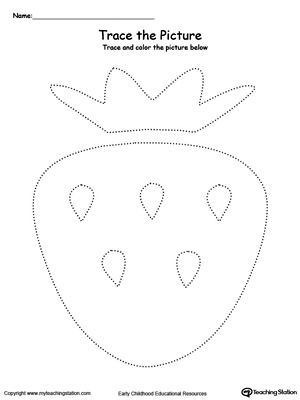 Practice fine motor skills with this strawberry picture tracing printable worksheet.