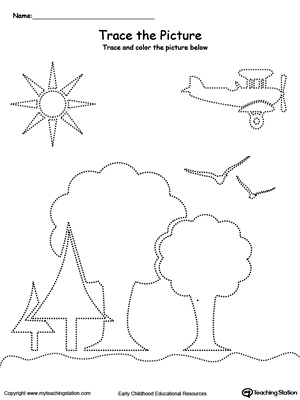 Trace the Picture: Scenary (Trees, Sun, Airplane and Birds)