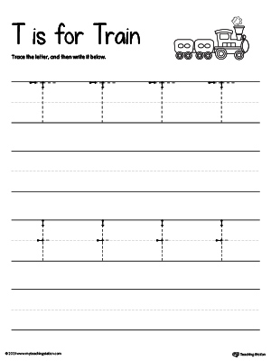 Worksheets Letter T Worksheets writing uppercase letter t myteachingstation com tracing and the t