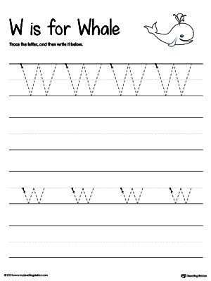Practice writing uppercase and lowercase alphabet letter W in this printable worksheet.
