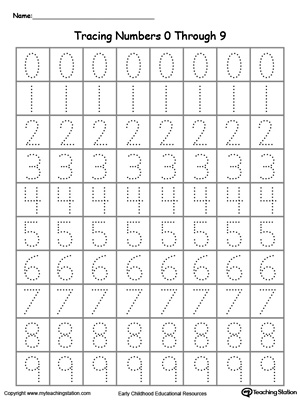 Printables Number Tracing Worksheets For Kindergarten tracing numbers 0 through 9 myteachingstation com downloadfree worksheet