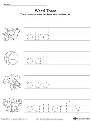 Trace Words That Begin With Letter Sound: B | MyTeachingStation.com
