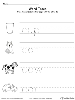 Trace Words That Begin With Letter Sound: C | MyTeachingStation.com