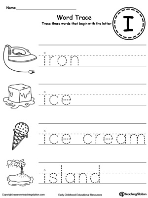 Trace Words That Begin With Letter Sound: I. Preschool learning letter sounds printable activity worksheets.