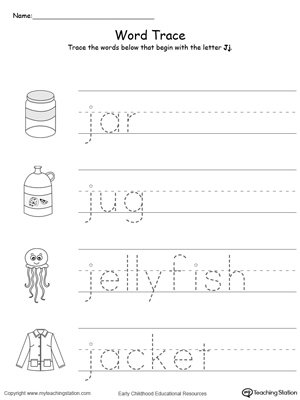 trace words that begin with letter sound: j | myteachingstation