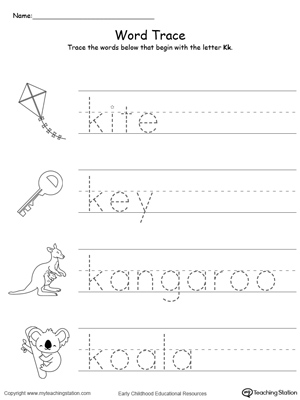 Trace Words That Begin With Letter Sound: K | MyTeachingStation.com