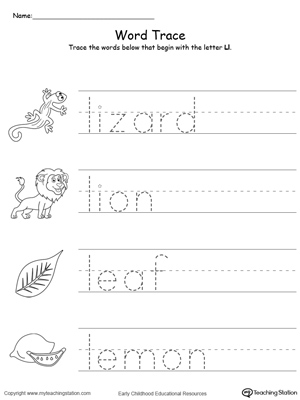 Trace Words That Begin With Letter Sound: L | MyTeachingStation.com