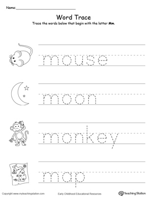 Trace Words That Begin With Letter Sound: M
