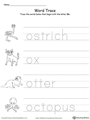 Trace Words That Begin With Letter Sound O