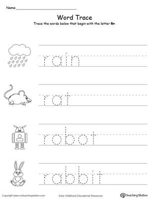 Trace Words That Begin With Letter Sound R Myteachingstation