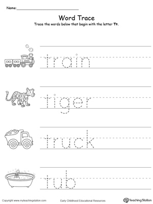 Trace Words That Begin With Letter Sound T
