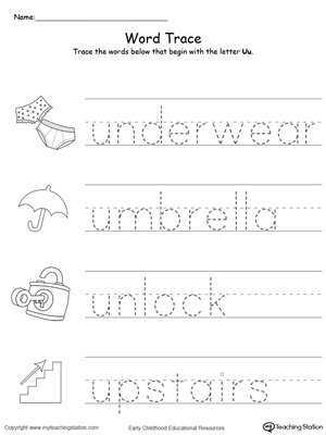 Worksheets Letter U Word For Preschool early childhood writing worksheets myteachingstation com trace words that begin with letter sound u