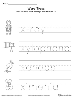 Trace Words That Begin With Letter Sound: X | MyTeachingStation.com