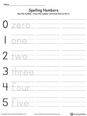 math worksheet : tracing and writing number words 0 5  myteachingstation  : Number Writing Worksheets For Kindergarten