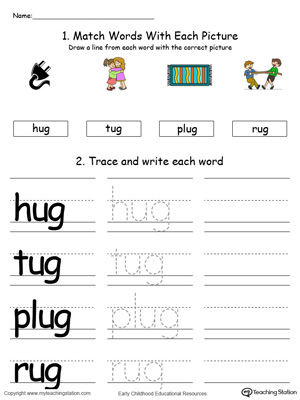 UG Word Family Connect, Trace and Write in Color