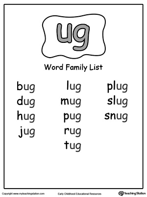 ug word family list. Black Bedroom Furniture Sets. Home Design Ideas