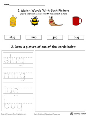 UG Word Family Phonics and Writing Practice in Color