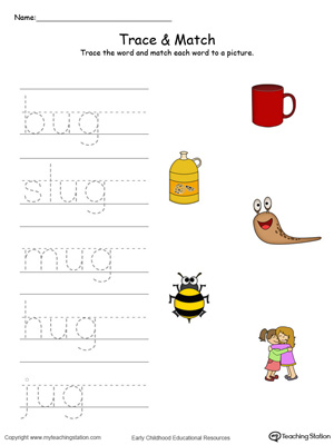 Match word with pictures in this UG Word Family printable worksheet in color.