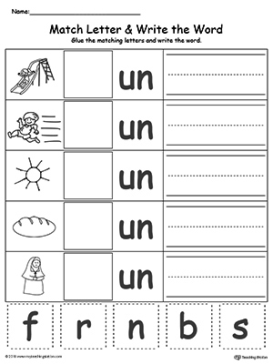 UN Word Family Match Letter and Write the Word